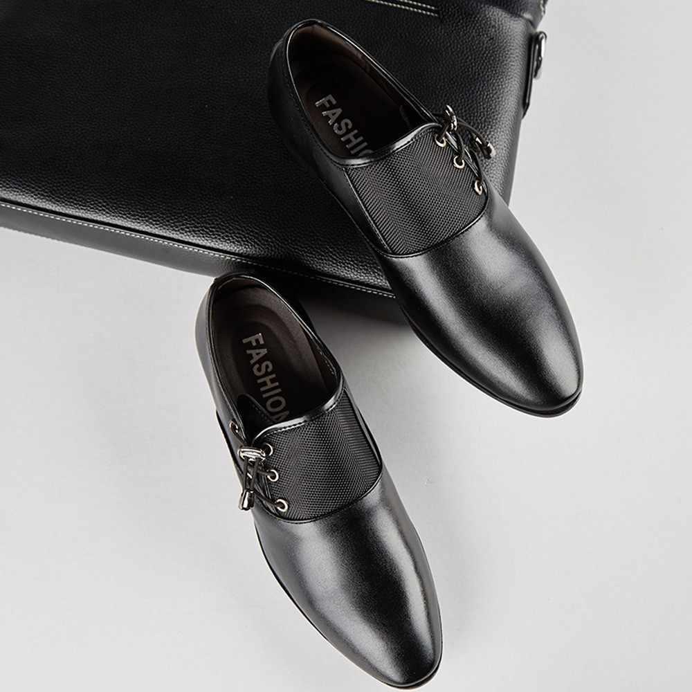 Ilkbahar sonbahar erkek resmi düğün ayakkabı lüks erkekler İş elbise ayakkabı erkek mokasen ayakkabıları sivri ayakkabı büyük boy 38-47 Dec4