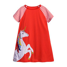 цены Girls Summer Dress Baby Girl Clothes Kids Dresses for Girls Kids Cartoon Dress Girls Princess Unicorn Dresses Toddler Dress