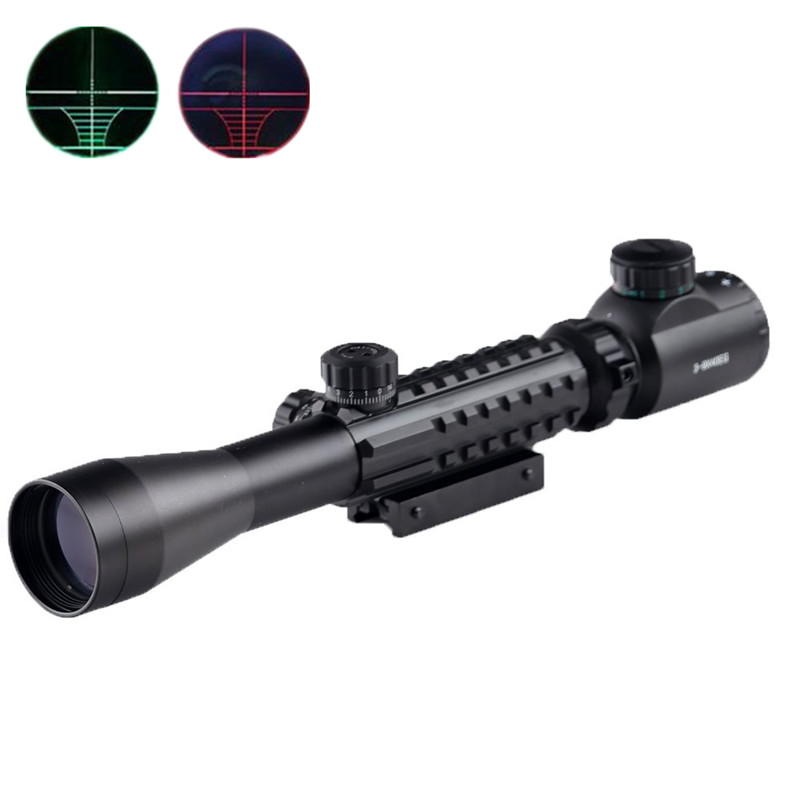C3-9X40EG Tactical Optical Rifle Scope Red Green Dot Scope Illuminated 11/20mm Rails&Mount Hunting Airsoft Air Guns Riflescopes