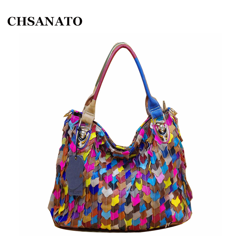 CHSANATO Hot Genuine Leather Bags For Women Colorful Leaves Female Handbag Patchwork Ladies Shoulder Bag genuine sheep leather women bags patchwork sheepskin woman shoulder bag ladies crossbody bags female sequined handbag