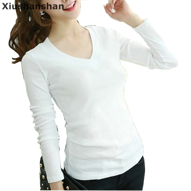 Xiushanshan Quality Wholesale Women V Neck Tops Tee Long