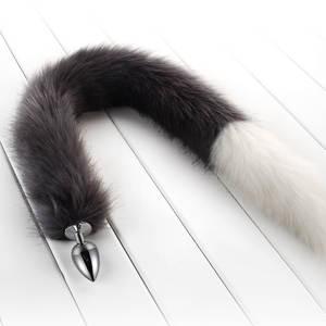 634bf40c6 Super Long 78 cm Fox Tail Small Size Anal Plug Metal Butt Plug Fetish For  Women Masturbation