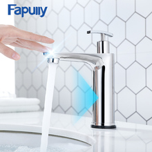 Fapully Touch Control Basin Faucet Mirror Sink Tap Smart Touch Sensor Sensitive Tap Bathroom Faucet With Soap Dispenser CP1056 fapully smart touch control kitchen faucet brushed black sensitive mixer touch induction faucet pull down sink tap crane cp1051