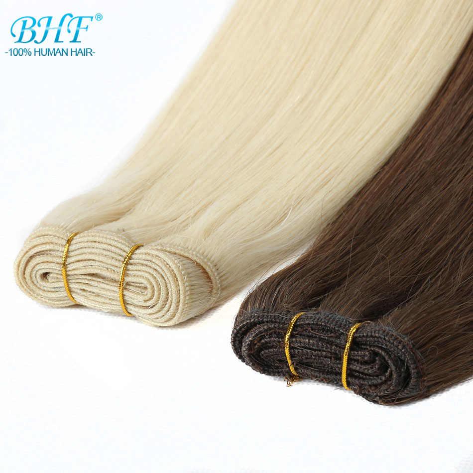 """BHF 100% שיער טבעי וויבס ישר רוסית רמי טבעי שיער ערב 1 חתיכה 100 גרם 18 """"20"""" 22"""" 'שחור חום בלונד צבע"""