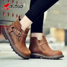 2016 Fashion Women Boots Autumn Winter Female Shoes Comfortable Genuine Leather Martin Boots For Ladies botas mujer  SG039