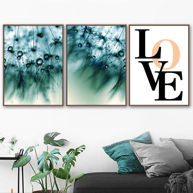 Abstract Dandelion Dew Quotes Landscape Wall Art  1