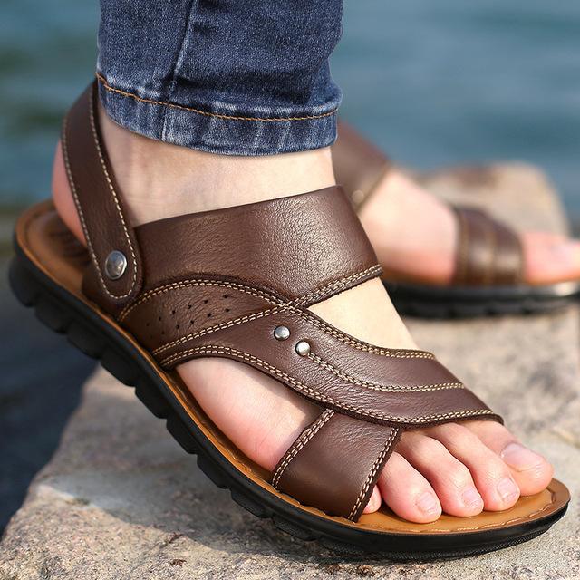 Men's Summer Sandals Genuine leather comfortable slip-on casual sandals fashion Men slippers zapatillas hombre size 38-44 129M