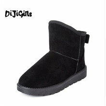2018 Winter Faux Suede Women Snow Boots Flat with Casual Shoes Woman Gladiator Round toe Women