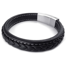 Jewelry Men's Bracelet Bangle Leather Stainless Steel Black