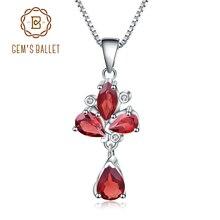 GEMS バレエ 3.42Ct 天然赤ガーネットの花のペンダント 925 スターリングシルバーネックレス & ペンダント女性のための結婚式