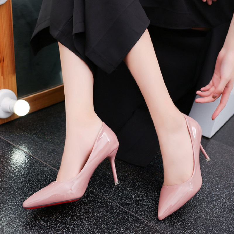 En Brevet Cuir Mode Mince noir Sauvages Profonde De Frais Hauts A Nouvelle Peu D'été Talons Beige Avec Coréenne Chaussures 2018 Femmes rose blanc Et Sexy Printemps xCwnHqIURp