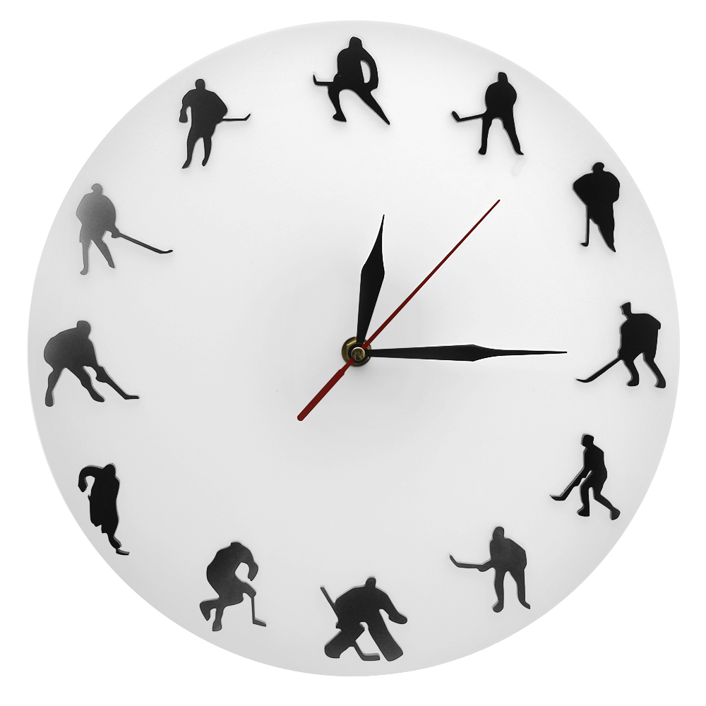 Hockey Minimalist Design Wall Clock Ice Hockey Field Hockey Sports Room Wall Decor Team Game Hockey Players Modern Wall Clock