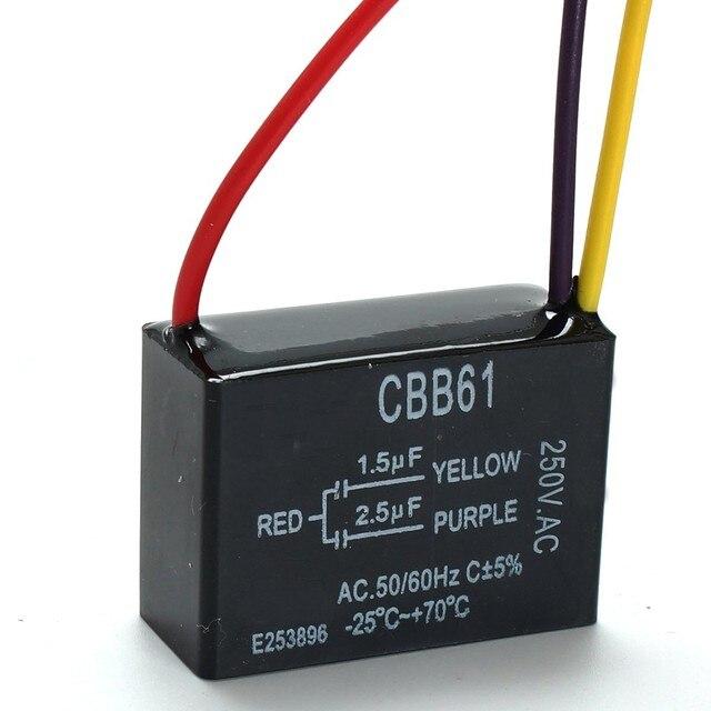 1 stück Schwarz Fan Kondensator CBB61 1,5 uf + 2,5 uf 3 Drähte AC ...