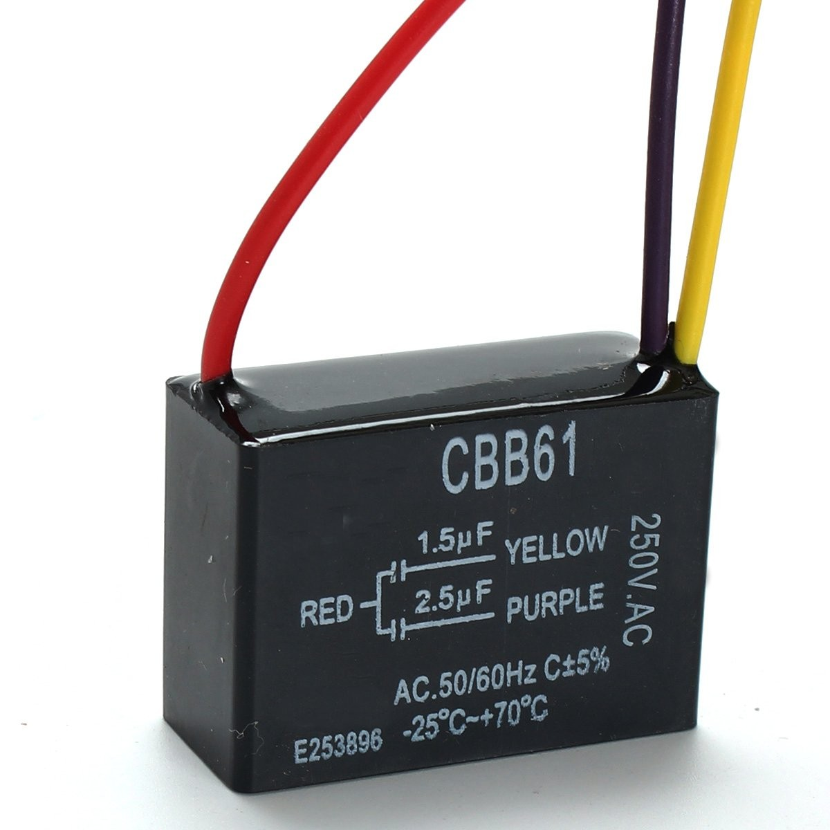 1pc Black Fan Capacitor Cbb61 1 5uf 2 5uf 3 Wires Ac 250v