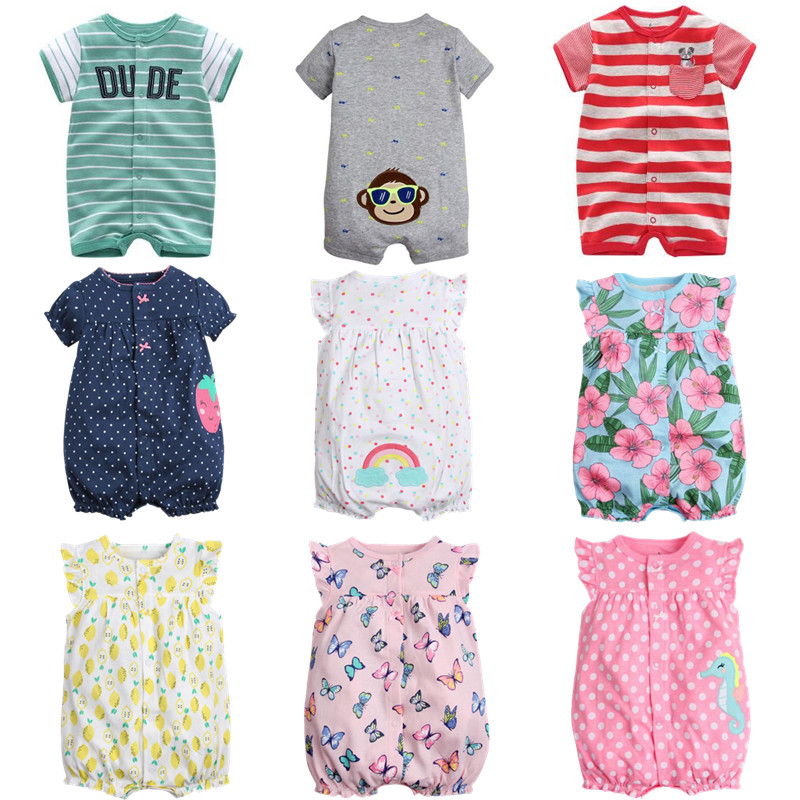 Summer 2017 Top Sales Baby Girl Clothes 0 24M Short Jumpsuits For Baby Clothing 100 Cotton