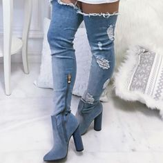 Women Sexy Retro Style Blue Denim Boots Chunky Heel Thigh High Boots Ripped Jeans Dress Shoes Fashionable Party Shoes Discount chic mid waist button design ripped denim shorts for women
