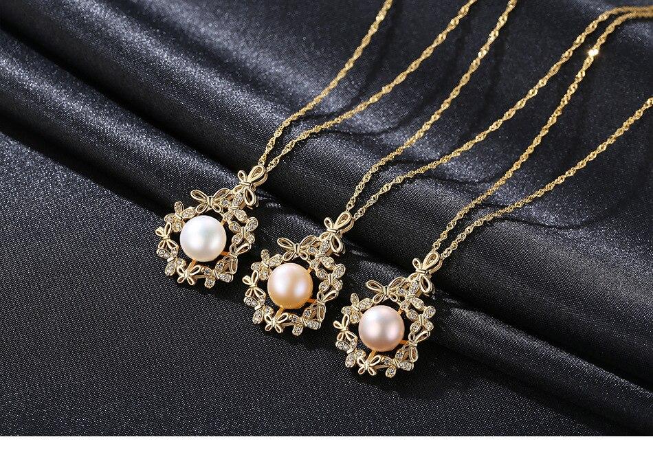 Collier de perles d'eau douce naturelles en argent sterling S925, accessoires pendentif exquis MA01