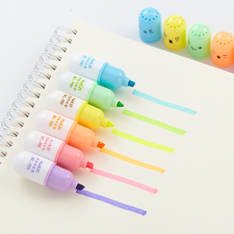 6 Pcs/lot Cute Capsules Vitamin Pill Highlighter Pens Kawaii Kids Drawing Painting Color Art Marker Pen School Office Stationery