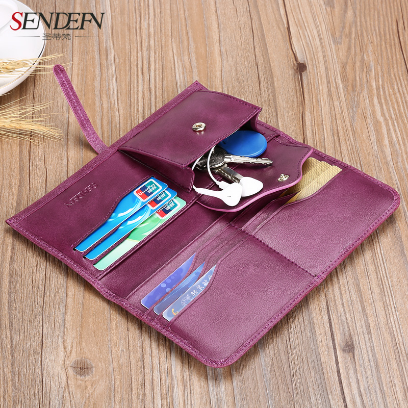 sendefn ultrafinos genuína mulheres de Construction : Card Slotes / Inner Zipper Pockets / Coin Compartments