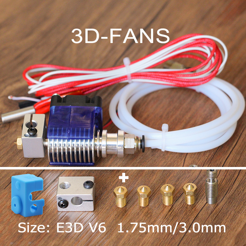 цена на Long-distance 3D Printer V6 J-head Hotend with 3010 fan for 1.75/3.0mm Bowden Extrude 0.4 Nozzle + V6 Block kit