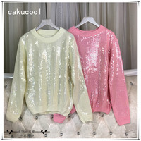 Cakucool New Women All sequined Long Sleeve Sweaters O neck Solid Jumpers Shiny Embellish Beading Knit Pullover Sweater Female