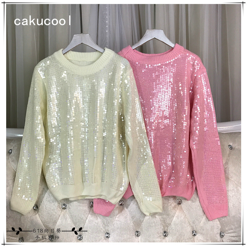 Cakucool Nouveau Femmes paillettes Chandails À Manches Longues O-cou Solide Pulls Brillant Embellir Perles Tricot Pull Pull Femme