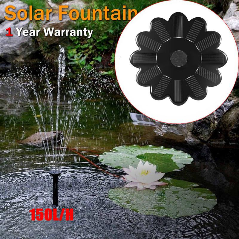 Novelty Lighting Lumiparty Flower Solar Fountain 1.2w 5v Ip68 160l/h Round Model Solar Outdoor Garden Portable Water Pump Fountain Kit Buy One Get One Free
