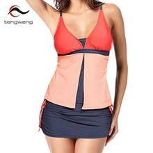216c922cb4 Tengweng 2019 nouveau Patchwork femmes Tankini maillot de bain grande  taille maillots de sport Shorts Push