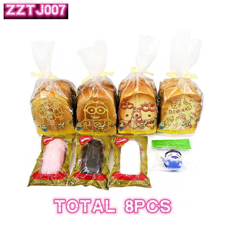 8 unids/lote, traje ZZTJ007, colgante de rebote lento, adorno, juego de pan blando, venta especial y limitada, envío gratis