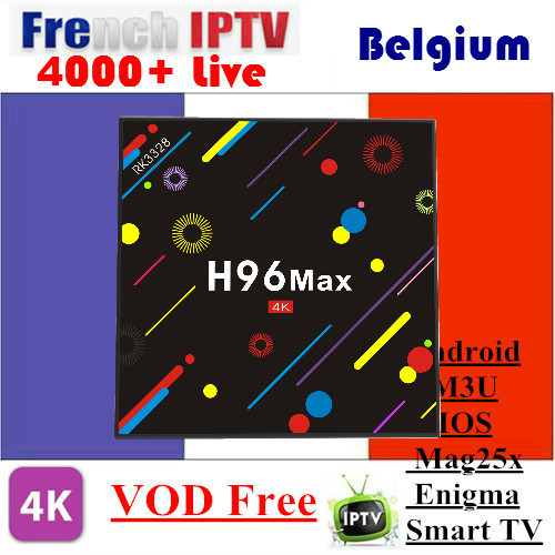 Android 7.1 TV BOX New H96 MAX With 1 Year IPTV SUNATV 4000+Channels 4/32G bluetooth With French/Arabic IPTV Channels VOD