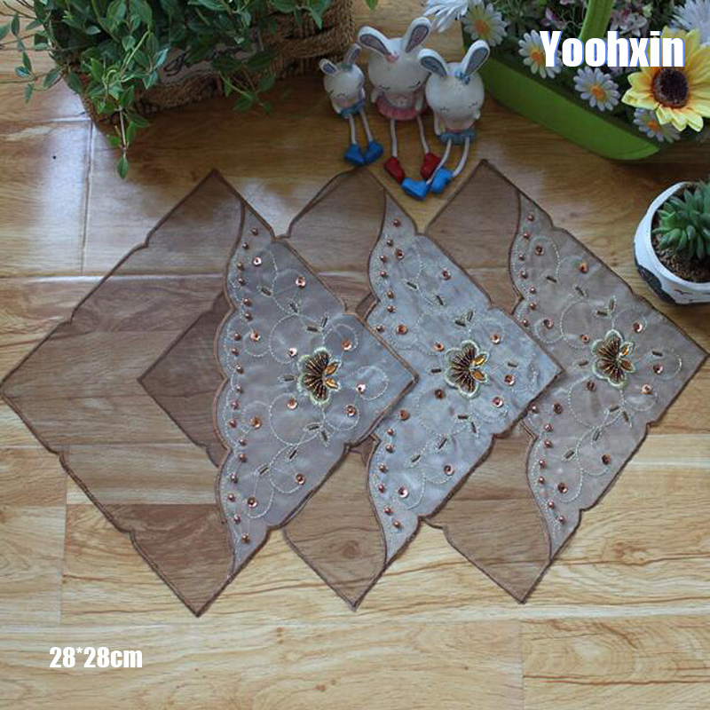 Luxury brown Lace sequin embroidery table place mat dish pad Cloth plate placemat cup mug tablecloth tea coaster doily kitchen