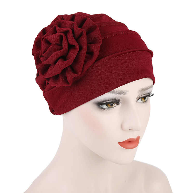 c314f6d4683 ... Fashion Women Cap Cotton Polyerter Flower Cancer Chemo Beanie Solid  Color Ladies Baggy Hat Muslim Inclusive