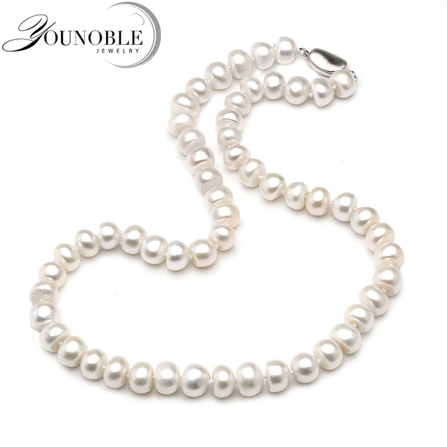 Genuine Freshwater Pearl Necklace Women,Real Wedding White Pearl Necklaces Anniv