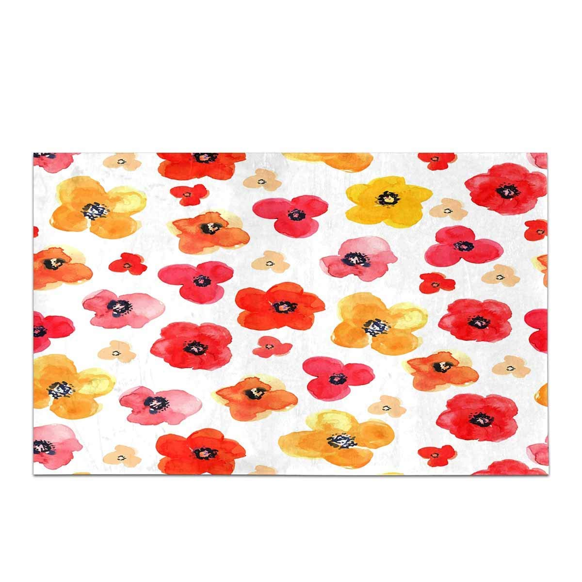 Fl Red And Yellow Isolated Poppies Kitchen Mat Bathroom Rugs Non Slip Home Entrance Floor Doormat In From Garden On Aliexpress Alibaba