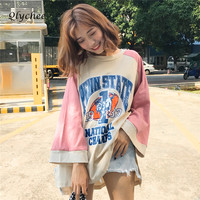 Qlychee Color Patchwork T Shirt Women Split Letter Print Long Sleeve Loose Top T Shirt Female