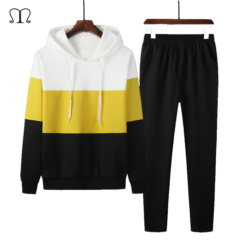 Casual Tracksuit Mens Hoodies Set Autumn Spring Men Two Piece Striped Hooded Jacket + Pants Track Suit Men Sportswear Sets Brand