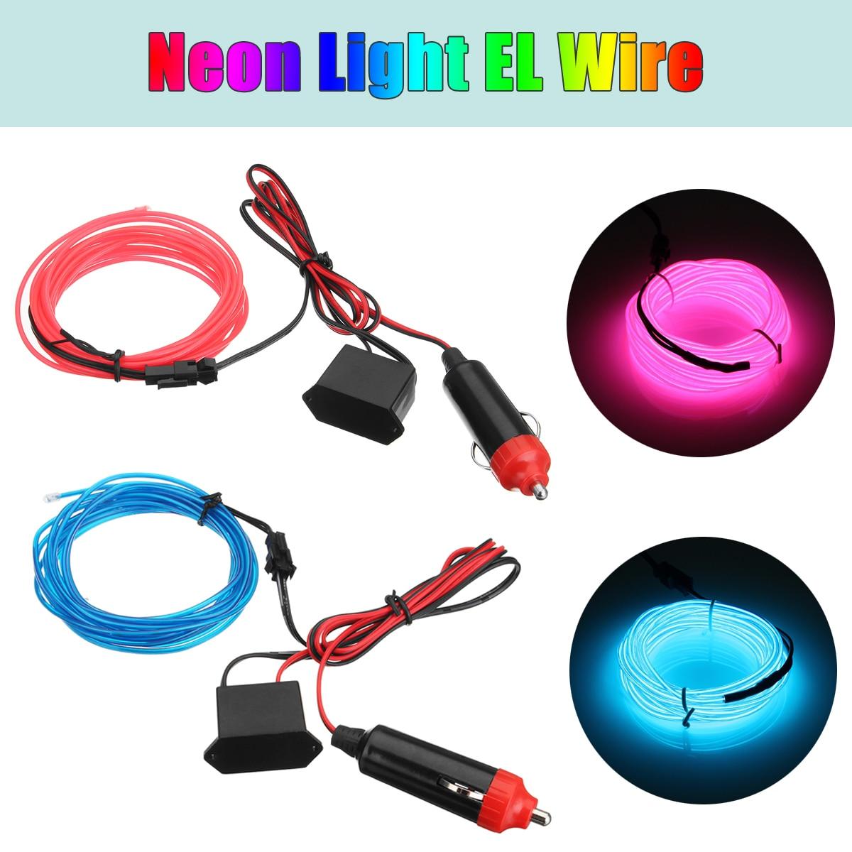3Meter Blue/Red Car Neon Light Glow EL Wire String Strip Rope Tube + Cigarette Light