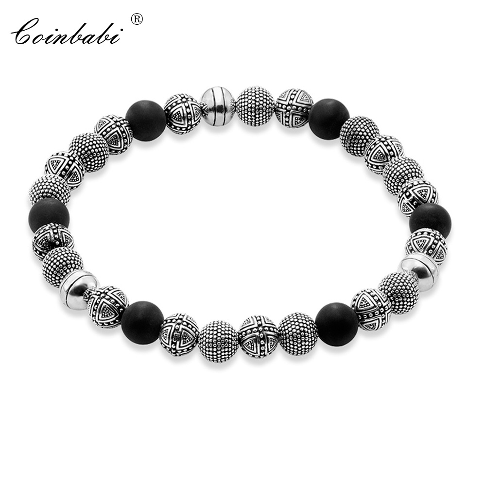 Bracelets Silver Beads And Obsidian 925 Sterling Silver For Men Trendy Gift Thomas Style Heart Rebel TS Masculine Bracelets