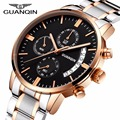 relojes hombre 2017 GUANQIN Mens Watches Top Brand Luxury Sport Watch Luminous Clock Men Steel Watchband Quartz Wrist Watch