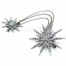 Crystal Flower Chain Brooch Pin Pendant Christmas Brooch Wedding