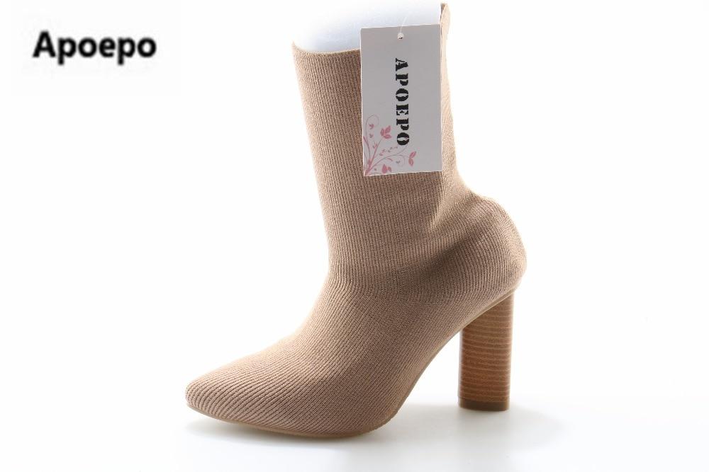 где купить Apoepo Women Boots Stretch Knit Ankle Boots Women Slim Botines Mujer Pointed Toe 9 cm Sexy High Heel Shoes Woman big size 42 по лучшей цене