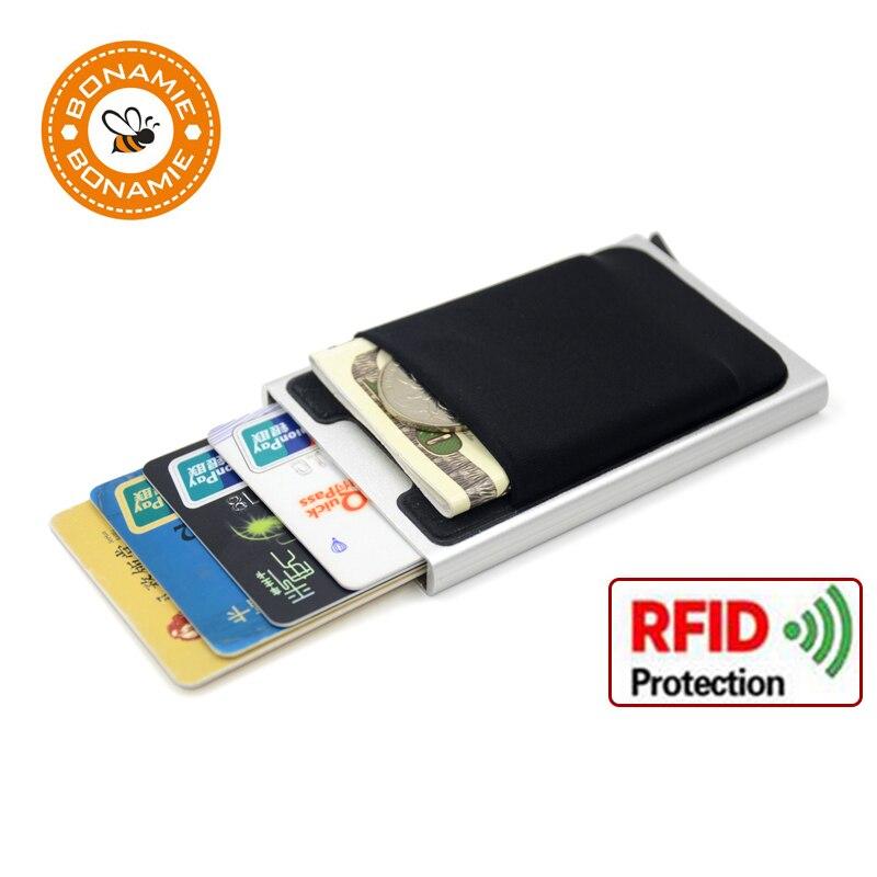 BONAMIE Aluminum Wallet With Elasticity Back Pouch ID Credit font b Card b font font b