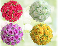"10""(25cm) Silk Flower Ball Centerpieces Wedding Kissing Balls Pomander Artificial Rose Hanging Decorative Flower Ball Decoration(China)"