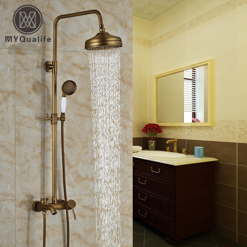 Nºmodern Wall Mount Antique Brass Shower Faucet Bathroom Tub Shower