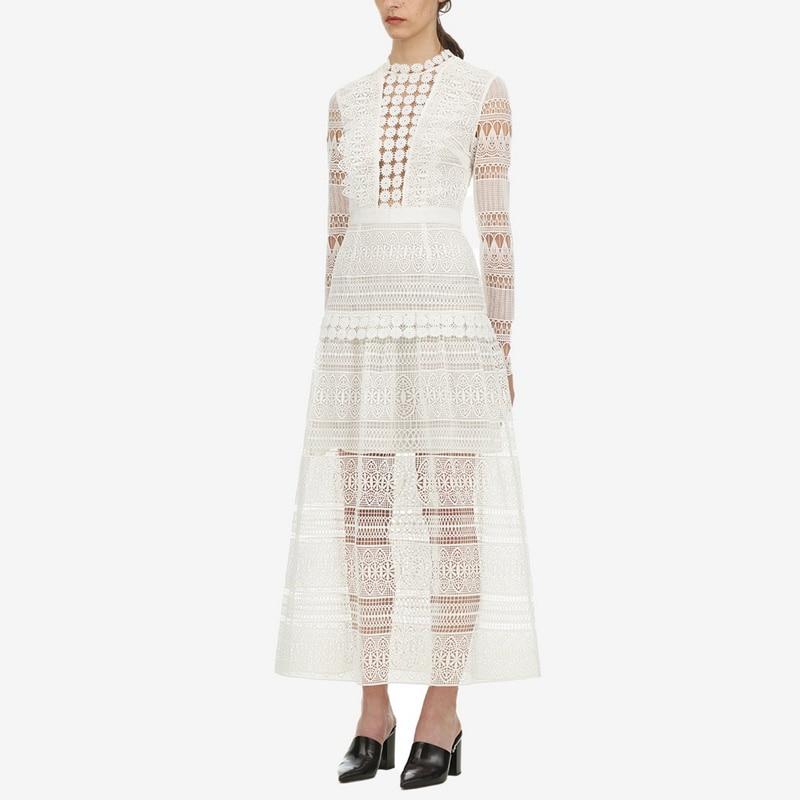 99f0614086ca De Abiti Qualità Bianco Dress Primavera Di Hollow Out Delle Merletto  Maniche Dell annata 2019 Vestito ...