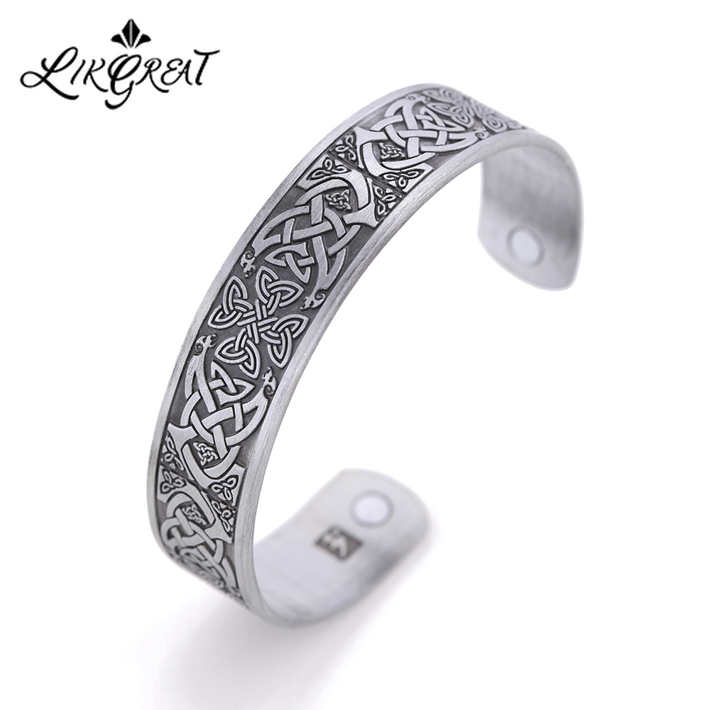 LIKGREAT Metal Engraved French Caroline Dynasty Cross Bangle Women Men Amulet Jewelry Celtics Knot Magnetic Cuff Bracelet bangle