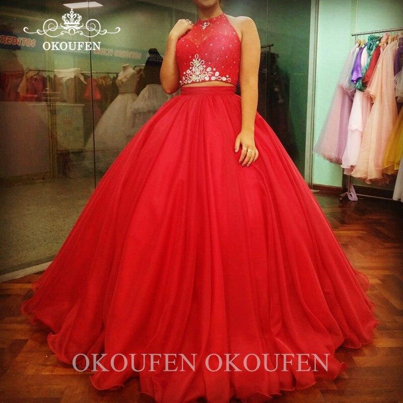 Rouge deux pièces Quinceanera robes avec perles 2020 pure licou Vestidos De 15 Anos doux 16 haut court Pageant robe De bal