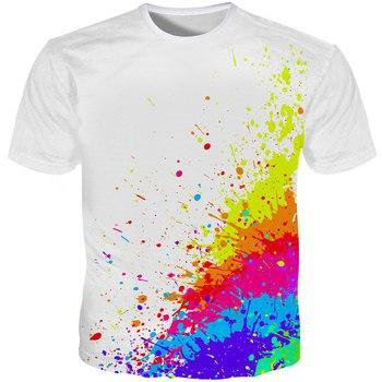 Cloudstyle 3D T-shirts Men Splatter Color Paint Stains 3D Print Short Sleeve Fashion White Tee Shirts Summer Tops Plus Size 5XL цена 2017