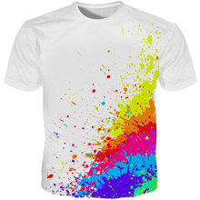 T-shirts Men Splatter Color Paint Stains 3 DPrint Short Sleeve Fashion White Tee Shirts Summer Tops Plus Size 5XL