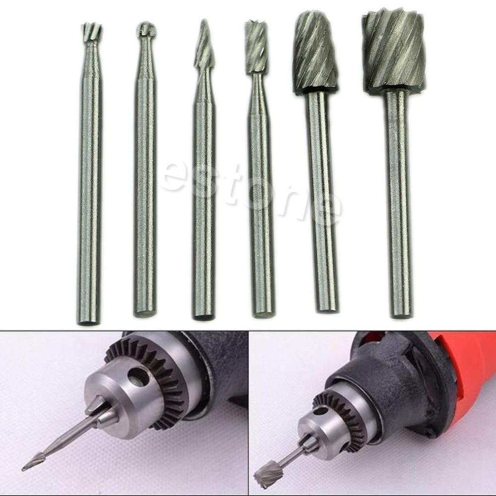 6pcs HSS Routing Router Grinding Bits Burr For Rotary Tool Dremel Bosch Mini #U225# 6pcs hss routing router grinding drill bits burr for rotary tool dremel bosch mini puncher wood drilling